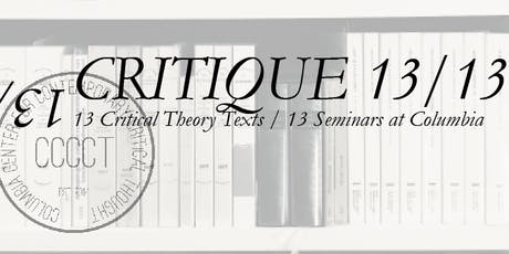 Critique 2/13: Horkheimer and Adorno with Axel Honneth tickets