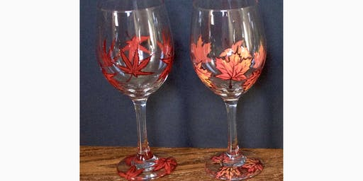 """Adult Open Paint (18yrs+) """"Autumn Leaves Wine Glasses"""""""
