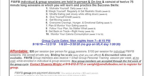 Mindful Bodies Fit Mind/ Fit Body (FM/FB) Interest Session Mon 8/26/19 for Fall 2019 Group Cycle