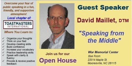 """Is FEAR of Public Speaking a Challenge?..Then this """"Open House"""" is 4U. tickets"""