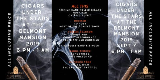 Join Ron & Life Thru Hair for Cigars Under the Stars at the Belmont Mansion 2019