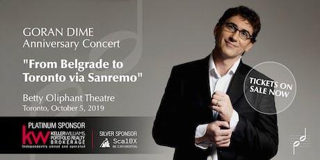 From Belgrade to Toronto via Sanremo tickets