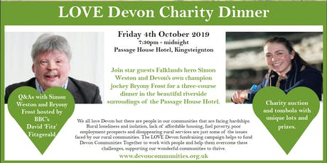 Falklands hero Simon Weston and champion jockey Bryony Frost Charity Dinner tickets
