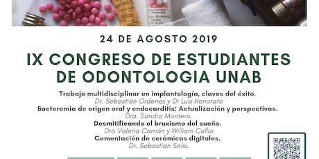 IX Congreso de estudiantes de odontología UNAB entradas