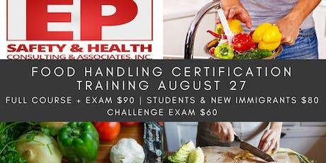 Food Handling Certification Training August 27 tickets