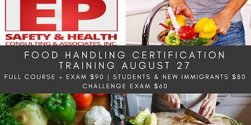 Food Handling Certification Training August 27