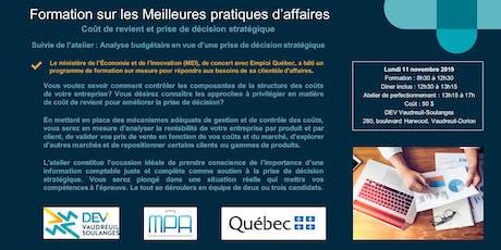 Formation MPA : Coût de revient et prise de décision stratégique + Atelier sur l'analyse budgétaire  billets