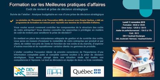 Formation MPA : Coût de revient et prise de décision stratégique + Atelier sur l'analyse budgétaire