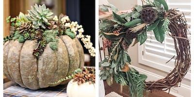 Succulent Pumpkins & Fall Wreath Workshop