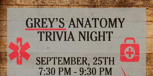 GREY'S ANATOMY TRIVIA NIGHT AT SOUTHSIDE CULHANE'S