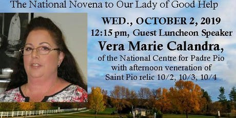 Vera Marie Calandra of the National Centre for Padre Pio at Champion Shrine with Padre Pio relic tickets