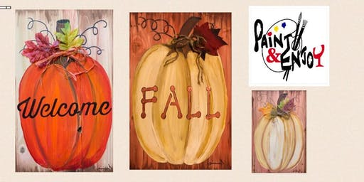 "Paint and Enjoy at Benigna's Winery ""Pumpkin""on Wood"