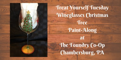 Treat Yourself Tuesday Paint-Along - Wineglasses Christmas Tree