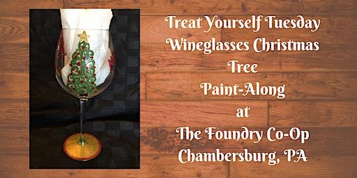 Treat Yourself Tuesday Paint-Along - Wineglasses Christmas Tree