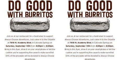 Fundraiser at Chipotle for Always Choose Adventures  tickets