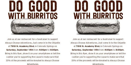 Fundraiser at Chipotle for Always Choose Adventures