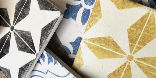 tile techniques {with jolie paint + IOD & royal design stencils!}
