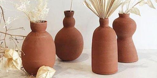 Not Yet Perfect- Pottery Handbuilding Workshop, Terracotta Vases
