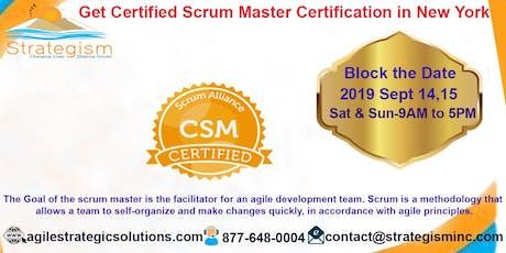 CERTIFIED SCRUM MASTER (CSM) Training in New york-Sept 14,15,2019  tickets