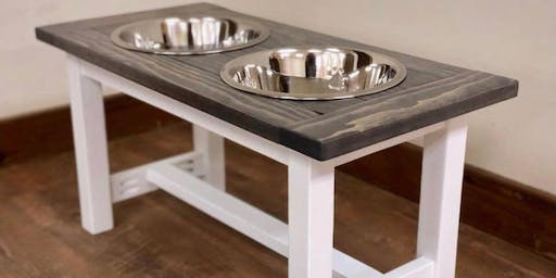 Build your own raised Dog (or cat) bowl stand workshop at Fisk Avenue in Waukesha.