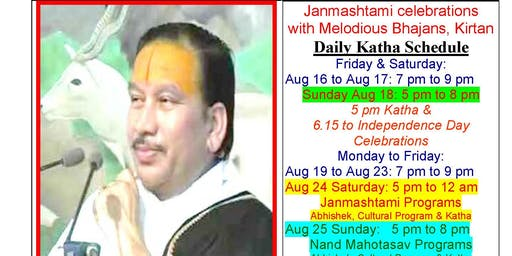 JANMASHTAMI - 10 days of katha with bhajans, kirtan, cultural program