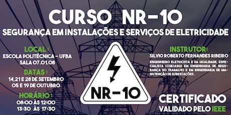 CURSO BÁSICO DA NORMA REGULAMENTADORA NR-10 SEGURANÇA EM INSTALAÇÕES E SERVIÇOS COM ELETRICIDADE ingressos
