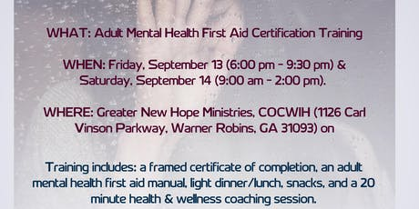 ADULT MENTAL HEALTH FIRST AID CERTIFICATION tickets