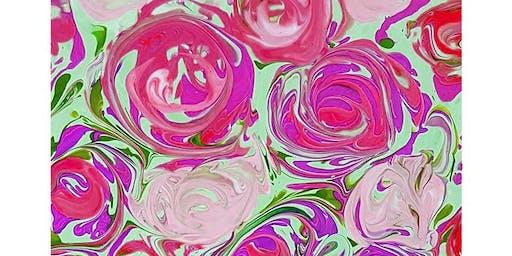 Your Choice - Fluid Pour Roses Painting Art Paint Maker Party Sip & Create Class