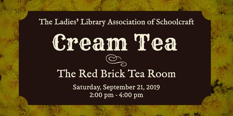 Schoolcraft LLA Cream Tea 2:00  pm Seating tickets