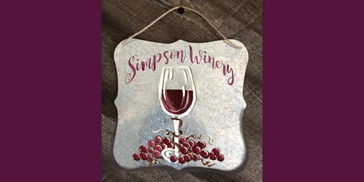 Personalized Winery Metal Sign Sip & Paint Party Art Maker Class