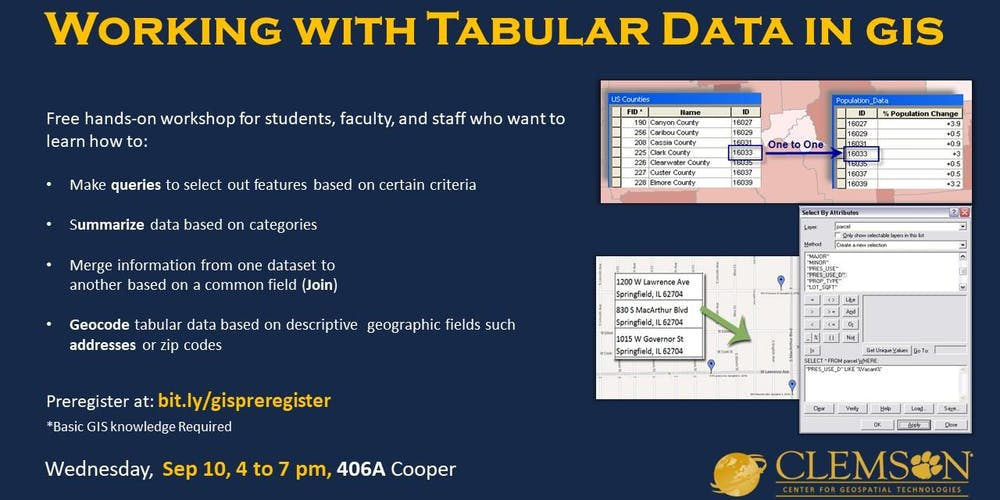 Working with Tabular Data (in ArcGIS Pro) Registration, Tue