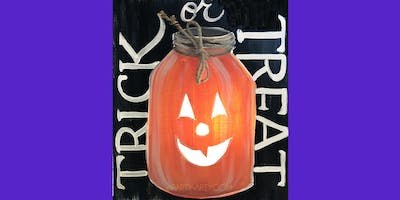 ***** or Treat Mason Jar -  Paint Create and Sip Party Art Maker Class
