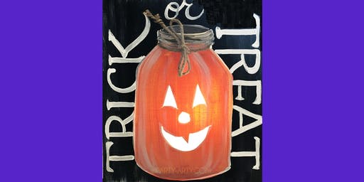 Trick or Treat Mason Jar -  Paint Create and Sip Party Art Maker Class
