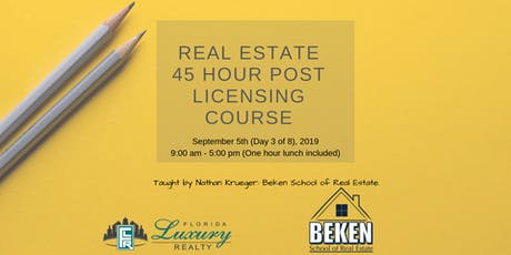 Real Estate 45 Hour Licensing Course Day 3 tickets