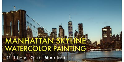 Manhattan Skyline Watercolor Painting @ Time Out Market's Rooftop
