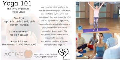 Yoga 101, the Very Beginning Yoga Class (4-Class Series)