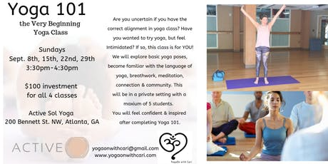 Yoga 101, the Very Beginning Yoga Class (4-Class Series) tickets