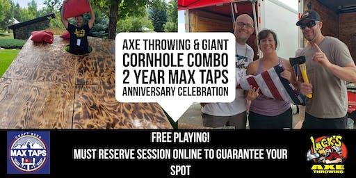 Axe Throwing & Giant Cornhole | Max Taps 2 Year An