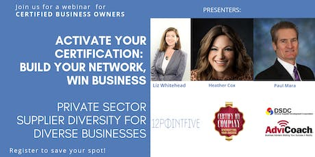 Activate your Certification: Build your Network, Win Business tickets