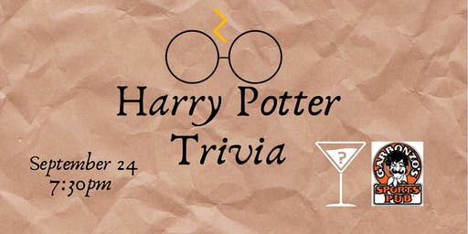 Harry Potter Movie Trivia - Sept 24, 7:30pm - Garbonzo's
