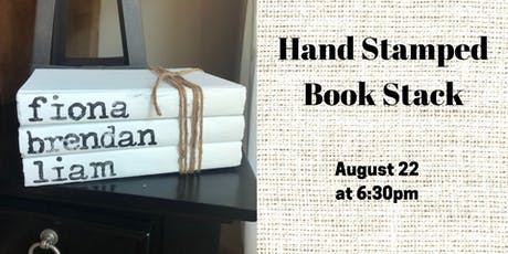 Hand Stamped Book Stack tickets