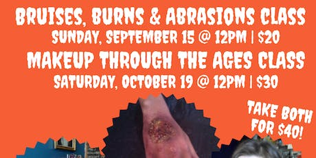 Bruises, Abrasions, and Burns (oh my!): Special Effects Makeup Class tickets
