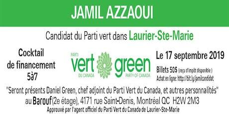 Jamil Azzaoui Candidat dans  Laurier-Ste-Marie/Cocktail de financement billets
