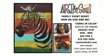 """Family Paint Night: """"Zebra in Color"""" tickets"""