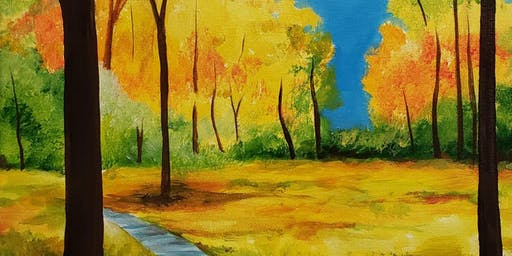 Autumn Path Painting Party at Brush & Cork