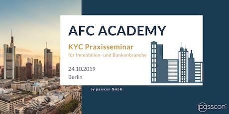 KYC Praxisseminar für die Immobilien- und Bankenbranche - AFC Academy Tickets