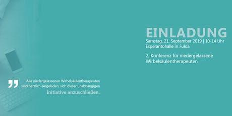 2. Konferenz für niedergelassene Wirbelsäulentherapeuten Tickets
