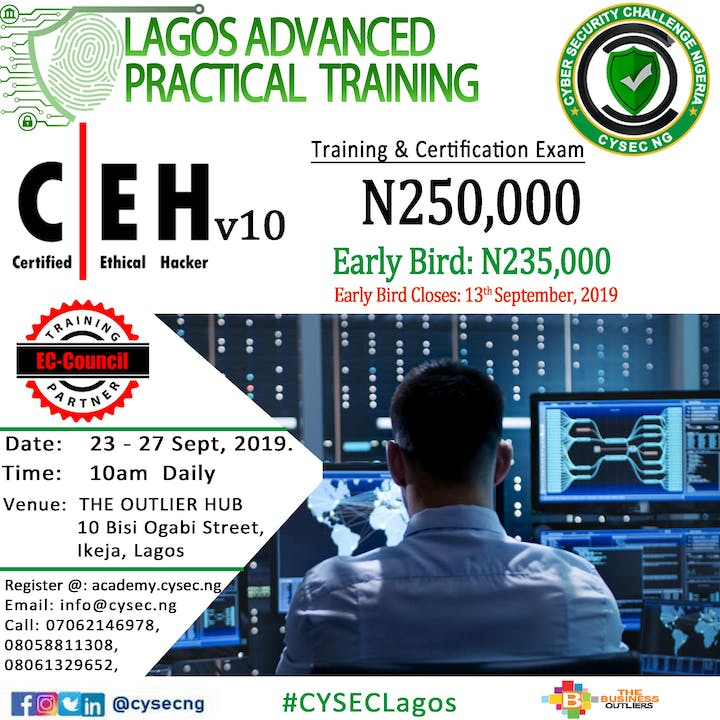 Lagos Certified Ethical Hacker CEHv10 & Secure Computer User