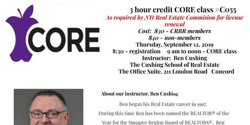 CORE Class ~ Thursday, September 12 ~ 9 to Noon