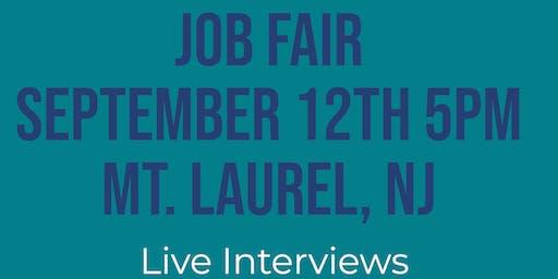 MOUNT LAUREL NJ JOB FAIR - THURSDAY SEPTEMBER 12...MANY NEW COMPANIES @5pm!!